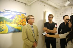 Edd discusses his work at the 188 Art exhibit