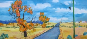 """Cottonwoods and Road 30 x 66"""""""