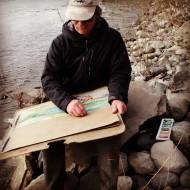 Edd sketches the Yellowstone River