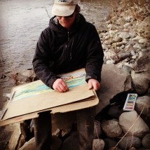 Edd sketches the Yellowstone River