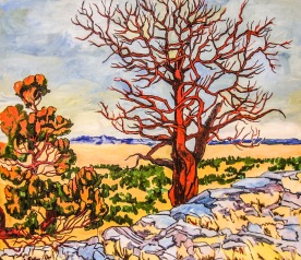 """SOLD Red Tree #1, 28"""" x 31"""""""