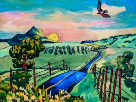 """Road with Hawk, 16"""" x 22"""""""