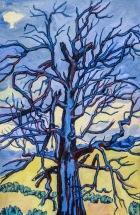 Dead Blue Tree 24 x 16