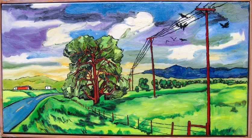 "SOLD Cottonwood study, framed, 17 x 31"", $1,580"