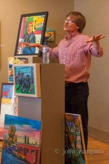 Edd explains his artistic process at a Danforth Gallery lecture