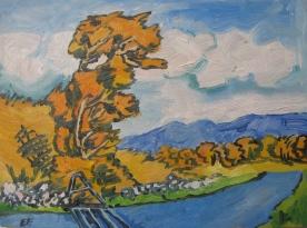 "Autumn Cottonwood Road, framed, 8 x 9"", $240"