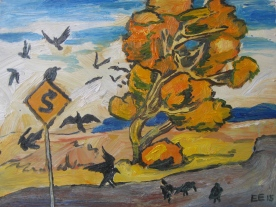 "Autumn Cottonwood Sign Crows, framed, 8 x 9"", $240"