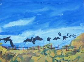 "Black Crows 2, unframed, 7 x 9"", $190"