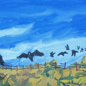 "Black Crows 2, unframed, 7 x 9"", $190"