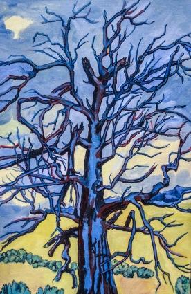 """Dead Blue Tree framed, 26 x 18"""", $1,400"""