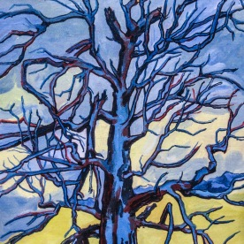 "Dead Blue Tree framed, 26 x 18"", $1,400"