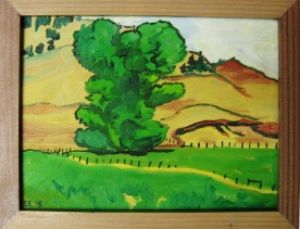 "Tree Study #1, framed, 8 x 9"", $225"