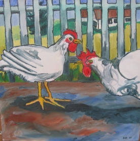 "Chickens, 15 x 15"", $675"