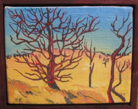 "Red Tree Study 4 framed, 8 x 9"", $220"