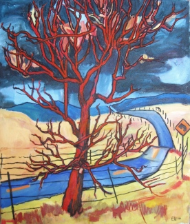 """SOLD Red Tree and Road, 18 x 15"""", $810"""