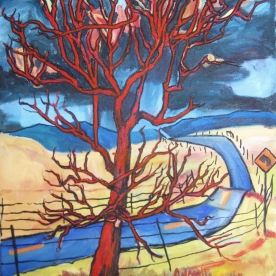 "SOLD Red Tree and Road, 18 x 15"", $810"