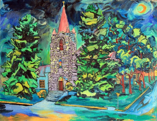 "SOLD. Big Timber Church, 2001, 40"" x 52"""