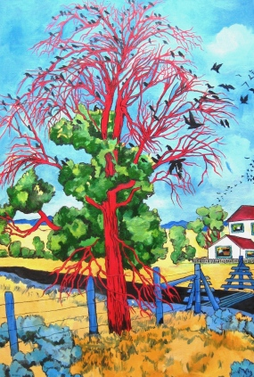 SOLD Featured in the YAM 2017 Auction. Murder of Crows at Crossing
