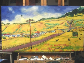 """Swingley Meets Business Park Road, completed. 36"""" x 66"""", $7,120"""