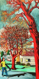 "Red Tree on Corner, 2010, 60"" x 30"""
