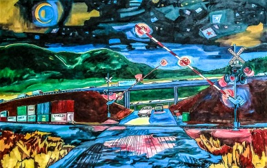 RailroadCrossingAtNight48x72